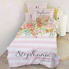 kids childrens quilt cover duvet doona matching pillowcase with name fabric