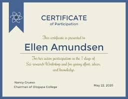 Online Certificate Of Participation Certificate Template