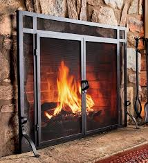 solid steel classic flat guard fire screens with doors fireplace accessories