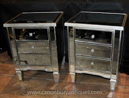 Pair Art Deco Mirrored Bedside Chest Drawers Tables Nightstands