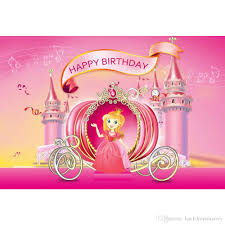 2019 Princess Girl Happy Birthday Backdrop Pink Printed Music Notes Castle Carriage Newborn Baby Kids Party Themed Photo Backgrounds From