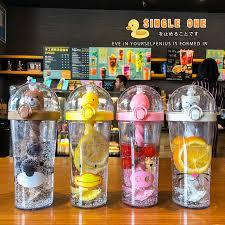 <b>New Hot</b> Creative Plastic Straw Water Bottle Cute Animal Drinking ...