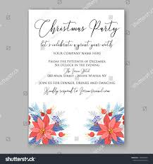 Red Poinsettia Christmas Party Invitation Vector Stock Vector