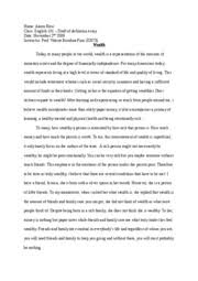 draft of definition essay wealth aaron new class english  draft of definition essay wealth aaron new class english 101 draft of definition essay date 2nd 2009 instructor prof valerie bandura
