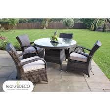 texas rattan garden furniture round table set