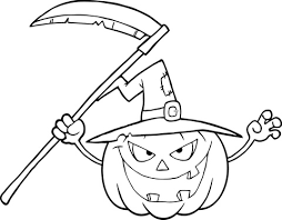 Bang Makende Halloween Pompoen Met Een Heksenhoed En Zeis Kleurplaat