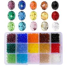 6mm Briolette Glass Beads Faceted Rondelle Crystal Beads Diy Craft Beads For Bracelet Assorted 15 Colors With Container Box Total 750pcs