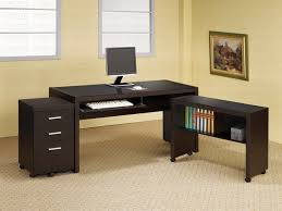 3 piece computer desk in cappuccino finish by coaster 800901