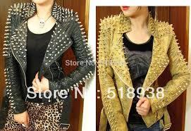 strong spike rivet studded shoulder snake pattern leather jacket coat autumn streetwea