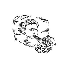 God Of Wind Medieval Ages Style Engraved Illustration Illuminated