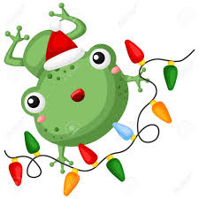 A Vector Of Cute Little Frog Holding A Colorful Christmas Lights
