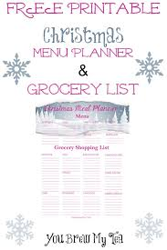 Free Printable Christmas Menu Planner & Grocery List -