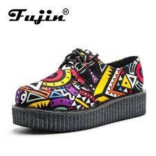 <b>Fujin Brand Creepers Women</b> Casual Shoes Round Toe Flat ...