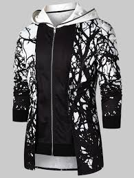 Faux Twinset Panel Design Shirt Faux Twinset Panel Tree Print Hoodie