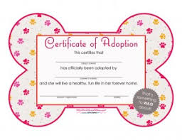 Pet Adoption Certificate Template Free Printables Dog Adoption Certificates Big Dot Of