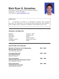 Resume Format Sample Philippines Therpgmovie