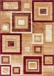 red geometric rug modern well woven