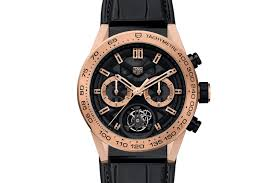 tag heuer carrera calibre heuer 02 t automatic chronograph rose gold tourbillon on black leather strap