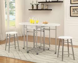 3 Piece Dining Set White Metal 3 Pc Counter Height Dining Set Caravana Furniture