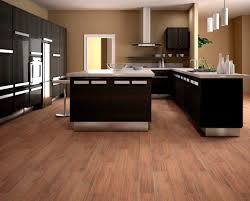 great wood tile kitchen