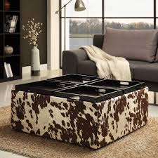 cowhide ottoman coffee table combo with storage also cool floor lamp and wooden cabinet