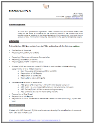 Career Objective Resume Resume Sample Of An Experience Chartered Accountant With Great