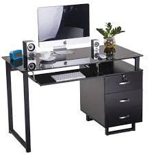 large glass computer desk office desk with keyboard tray and