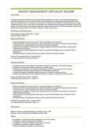 Sample Management Specialist Resume Sample Energy Management Specialist Resume