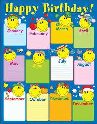 Smiley Face Birthday Chart Birthday Charts Birthday Chart