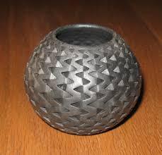 Michael Wisner Signed Michael Wisner Modernist Black Ceramic Vase Interlocking