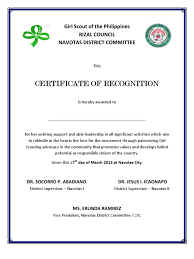 Certificate Girl Scout