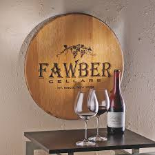 Wine Themed Decor Authentic Barrel Head Wall Plaque With Personalized Wine Theme