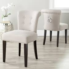 com safavieh mercer collection taupe linen ring dining chair set of 2 chairs