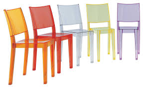 la marie stacking chair  transparent  polycarbonate clear by kartell