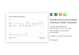 Check Out Sheet Restaurant Server Cashier Checkout Sheet Template In Word
