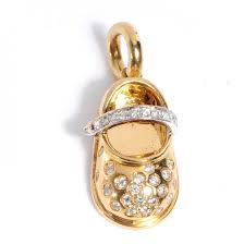 gold pave diamonds strap baby shoe charm empty pinch zoom