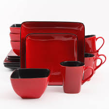 better homes and gardens rave piece square dinnerware set red
