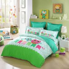 image of lime green owl bedding