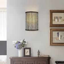 malia rustic 2 light half cylinder shaped distressed wood bead fabric shade indoor wall sconce metal