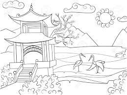 子供漫画のベクトル イラストの塗り絵日本の自然