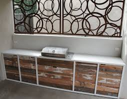 Reclaimed Kitchen Doors This Outdoor Kitchens Benchtop Framework And Splashback Are Made