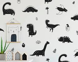 on dinosaur bedroom wall stickers with dinosaur wall decal etsy