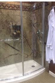 low d diy faux shower wall panel system in a rainforest pattern