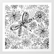 Art Doodle Dragonfly And Flowers Doodle Art Print By Katerinamitkova