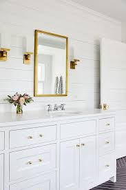 gold rivet bathroom mirror design ideas