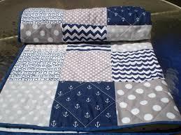 Best 25+ Nautical baby quilt ideas on Pinterest | Nautical quilt ... & Nautical Baby quilt, navy, grey, chevron, crib quilt, baby girl quilt, boy  bedding, anchors, waves, modern, blanket, toddler, All Nautical Adamdwight.com