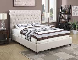 devon beige fabric eastern king size bed w scrolled on tufted headboard