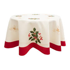 chi holiday embroidered holly berries 70 in round table cloth with red trim border