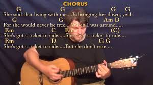 ticket to ride song song lyrics the beatles ticket to ride vid  ticket to ride the beatles strum guitar cover lesson in g ticket to ride the beatles