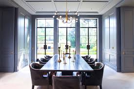 collect this idea william hefner dining room paneled walls doors gray blue cococozy interior design leather chairs encasement windows
